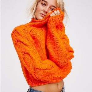 FREE PEOPLE super soft alpaca cropped roll neck